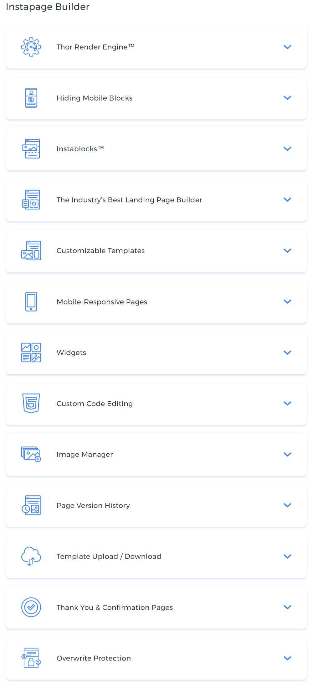 instapage builder features
