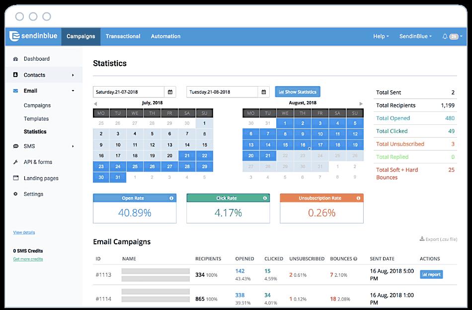 sendinblue statistics analytics