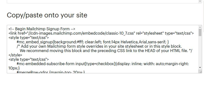 mailchimp embed form copy html