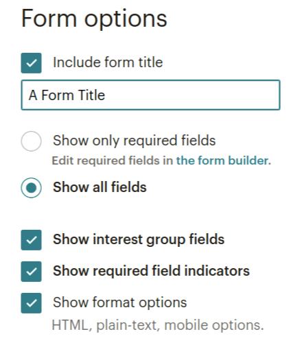 mailchimp embed form options