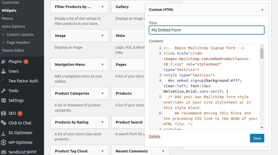 mailchimp form in wordpress paste form code