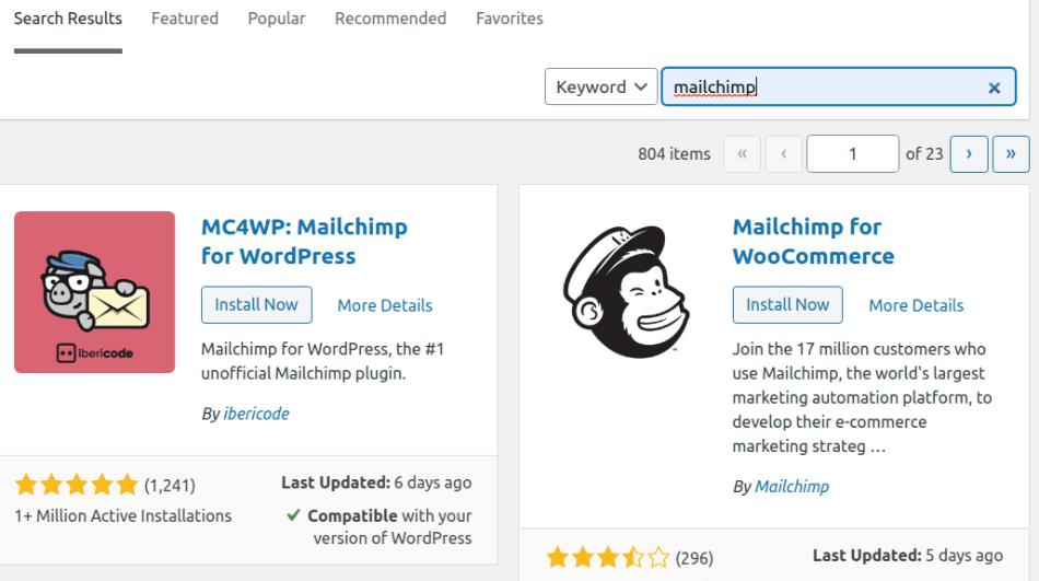 mailchimp in wordpress search for plugin